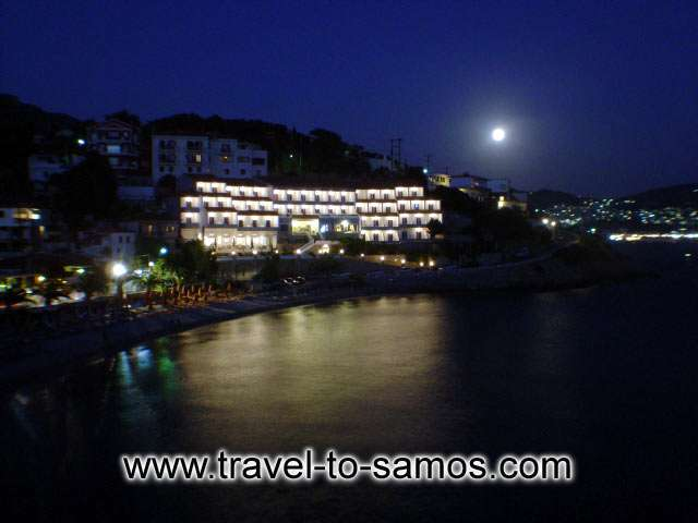 GAGOU BEACH Image of the Hotel at Night CLICK TO ENLARGE